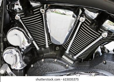 Chromed powerful engine motorcycle motor