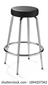 chrome-plated bar stool with black padded seat on with background