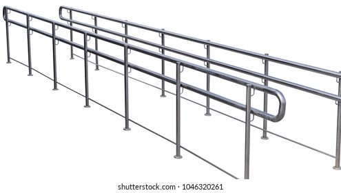 Chromium metal fence with handrail on white background