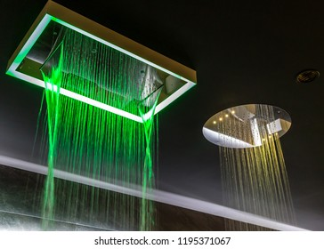 Chromotherapy and water falling from shower heads