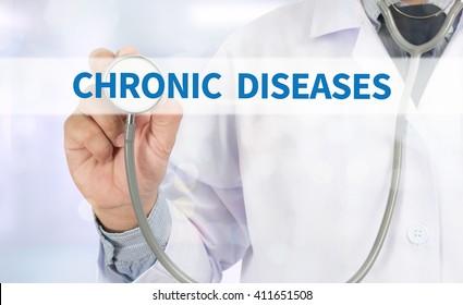 CHRONIC DISEASES Medicine doctor hand working on virtual screen