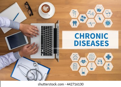 CHRONIC DISEASES Professional doctor use computer and medical equipment all around, desktop top view, coffee