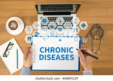 CHRONIC DISEASES Top view, Doctor writing medical records on a clipboard, medical equipment