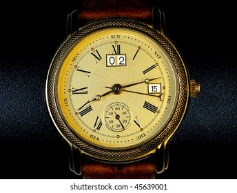 Chronograph watch isolated black background