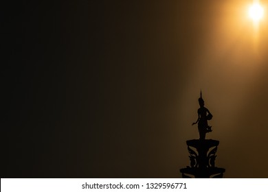Chrouy Changva. Phnom Penh / Cambodia - 02/10/2019: A Cambodia Silhouette of an Apsara (a spirit of the wind and water). They are seen as protective spirits and are common in Cambodian architecture.
