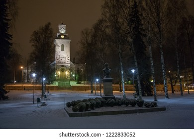 Chruch in Kuopio center, Finland, in winter time in the evening with some snow