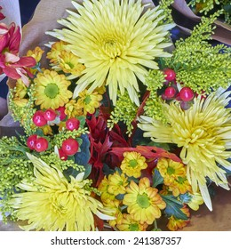 chrysanthemums and various other flowers bouquet closeup