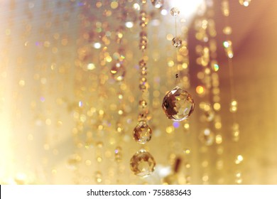 Chrystal chandelier with bokeh blurry background