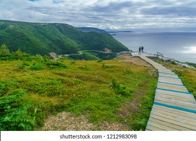 Chticamp, Canada - September 19, 2018: Views of the skyline trail, with tourists, in Cape Breton Highlands National Park, Nova Scotia, Canada