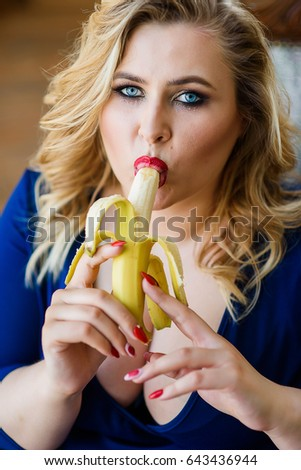 Chubby Girl In Blue Dress Sexy Licks And Eats A Banana