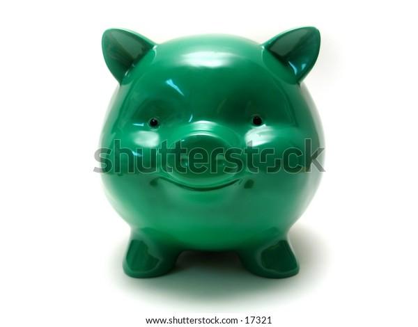 A chubby green piggy bank with a big smile.