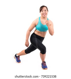 chubby woman doing fitness on white background
