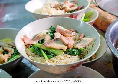 Chubgung Noodles, one of street food is popular on Chinatown (Yaowarat) Bangkok, Thailand