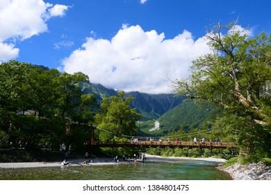 Chubu-Sangaku National Park.This place is Kamikochi,with Azusagawa River.Matsumoto Nagano Japan.Late August.