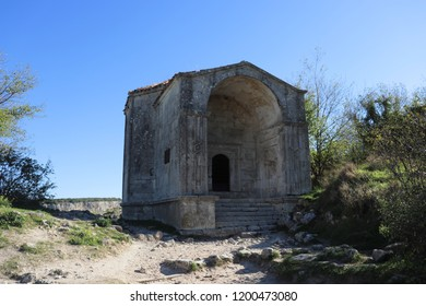 CHUFUT-KALE, REPUBLIC OF CRIMEA / RUSSIA - SEPTEMBER 19 2018: Dyurbe Djanike-Khanym, the tomb of the daughter of Khan Tokhtamysh in the cave city of Chufut-Kale in Crimea