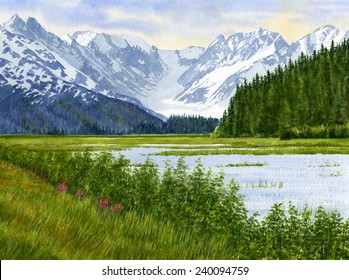 Chugach Glacier View in Alaska landscape of a glacier, snow covered mountains, lake with water lilies and grass.  Watercolor, hand painted scenic painting.