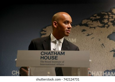 Chuka Umunna, Labour party MP and chair of Vote Leave Watch, speaking  on the international role for the UK following the Brexit vote, at the Chatham House think-tank in London on 26 October 2017.