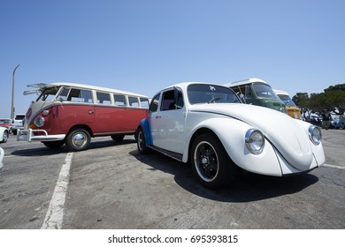 "Chula Vista, California - July 30, 2017: 19th Annual Airheads Parts/KGPR Hwy1 Border to Border Treffen ""Canada to Mexico Cruise"" arrival and car show."