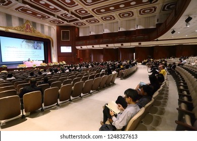 Chulalongkorn Auditorium, Chulalongkorn University, Bangkok Thailand, July 31, 2018 : The people are attending and lecturing in the auditorium.