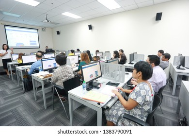 Chulalongkorn University, Bangkok ThaiIand, April 29, 2019 : The people are using and attending in the computer class.