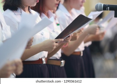 Chulalongkorn University, Bangkok Thailand, January 16, 2019 : The female chorus band had show their performance in the free event with blurred background.