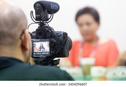 Chulalongkorn University, Bangkok Thailand, July 11, 2019 : The rear view of the video camera is recording the show with blurred background.