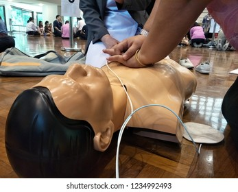 Chulalongkorn University, Bangkok Thailand, November 20, 2018 : The people are learning of CPR by using AED equipment.