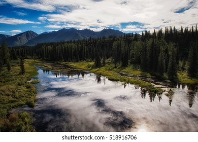 Chulitna River in Alaska on a bright summer day