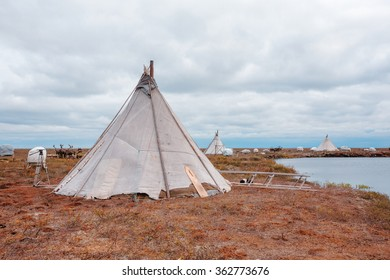Chum - traditional dwelling indigenous peoples, herders, Russia, Yamal Region, Asia,
