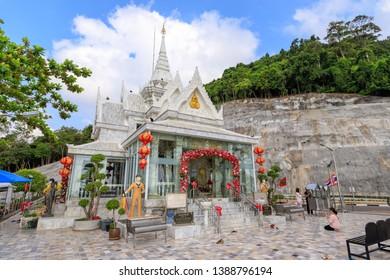 Chumphon, Thailand - February 25, 2019: Prince of Chumphon, father of Royal Thai Navy, new shrine; at Hat Sai Ri beach.