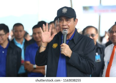 Chumphon,Thailand - Aug 21,2018: Thai Prime Minister Prayut Chan-o-cha was in the southern province of Chumphon before attending a mobile Cabinet meeting in Ranong.