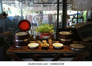 CHUMPHON,THAILAND-JUNE 2,2019:Arrangement of Buffet self service station at 'NAIMUANG khaolak' local southern Thai restaurant -Khao pad Khai (Chicken fried rice with eggs)