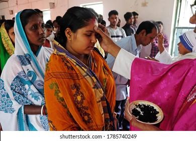 CHUNAKHALI, INDIA - FEBRUARY 26, 2020: Ash Wednesday celebration in a catholic church in Chunakhali, West Bengal, India