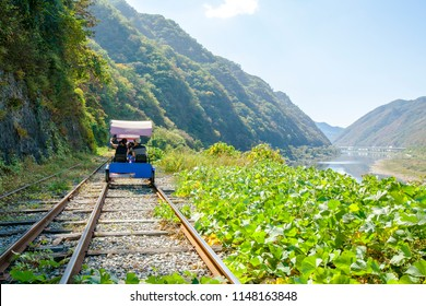 Chuncheon, Gangwon-do / South Korea - 09 27 2015: Gangchon Rail Bike Park