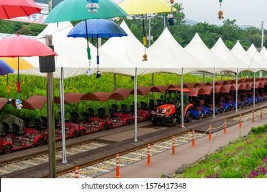 CHUNCHEON, SOUTH KOREA - JUNE 18, 2019: Rail Bikes parked and waiting for tourists at Gangchon Rail Park, Chuncheon, South Korea.