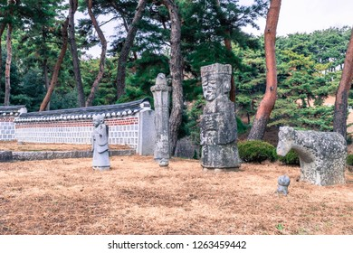 Chungju, South Korea; December 18,2018: Statues erected at site of burial mound believed to keep watch over deceased in afterlife.