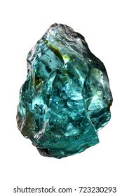 A chunk of glass produced in Slovakia that resembles a gem rough aquamarine.
