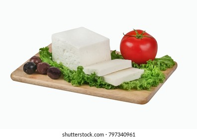 Chunk of white cheese on wooden board. Clipping path.