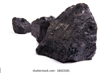 Chunks of coal isolated on a white background.
