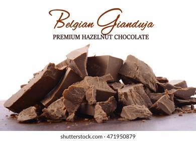 Chunks of coarsely chopped premium Belgian Gianduja chocolate made with finely ground hazelnuts.