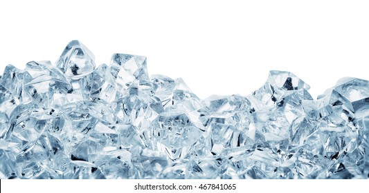 Chunks of ice rolled in heap isolated on white background
