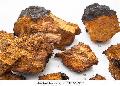 Chunks and pieces of chaga, the medicinal mushroom, photographed on a white background.