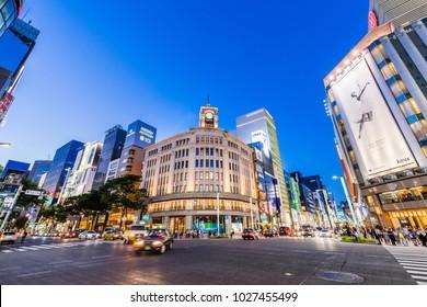CHUO, TOKYO / JAPAN - JULY 10 2017 : Night view of the intersection of Ginza 4-chome, Chuo-ku, Tokyo.