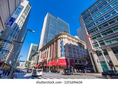 "CHUO, TOKYO / JAPAN - NOVEMBER 2 2018 : Scenery of Nihonbashi in Tokyo. ""Takashimaya S.C."" of the high-end shopping center opened. It is a new landmark of Nihonbashi."