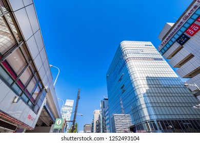 CHUO, TOKYO / JAPAN - NOVEMBER 2 2018 : Scenery of shopping building in Ginza, Tokyo.