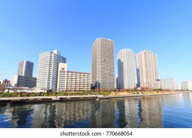 Chuo, Tokyo, Japan November 29, 2017: River City 21: River City 21 is highrise apartments in Tukuda, Tokyo.