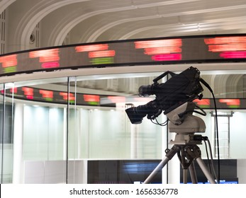 Chuo-ku, Tokyo / Japan-February 17, 2020: A live TV camera installed on the Tokyo Stock Exchange. The stock price is displayed on the electronic bulletin board in real time.