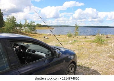 CHUPA, REPUBLIC OF KARELIA / RUSSIA - AUGUST 07 2016:  Sport fishing on the White Sea coast