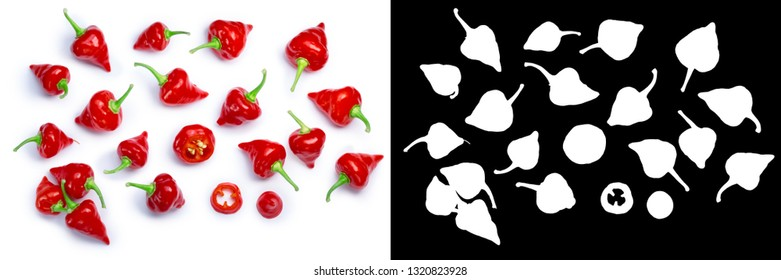 Chupetinho or Biquinho chile pepper (C. chinense), top view. Clipping paths, shadows separated