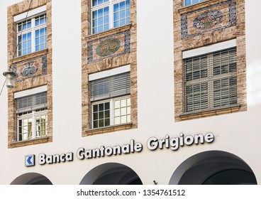 Chur, Switzerland - September 27, 2018: part of the facade of the headquarters of the Graubundner Kantonalbank (Italian: Banca Cantonale Grigione) - the cantonal bank of the Swiss canton of Graubunden